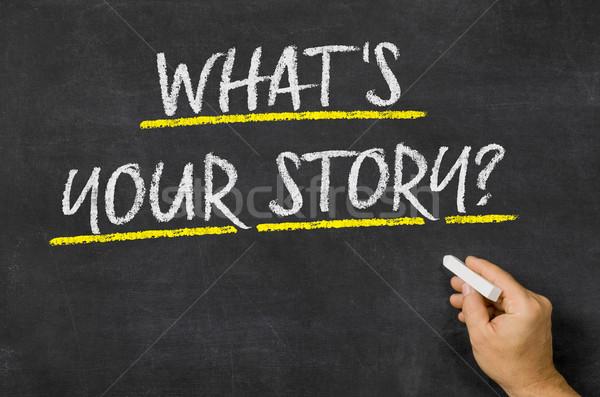 ストックフォト: 何 · 物語 · 書かれた · 黒板 · ビジネス · にログイン
