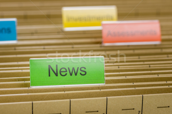 Hanging file folder labeled with News Stock photo © Zerbor