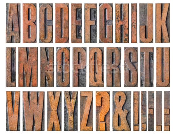 Antique letterpress wood type printing blocks - Alphabet Stock photo © Zerbor