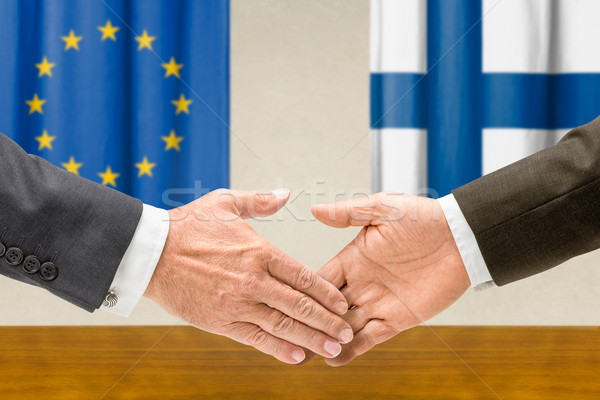 Eu Finland handen schudden handen hand vergadering Stockfoto © Zerbor