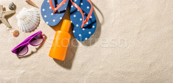 Some beach accessories with copy space on the right side Stock photo © Zerbor