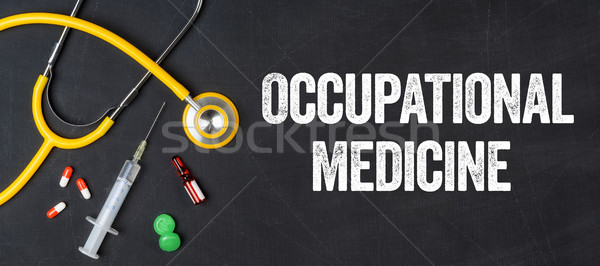 Stethoscope and pharmaceuticals on a blackboard - Occupational M Stock photo © Zerbor