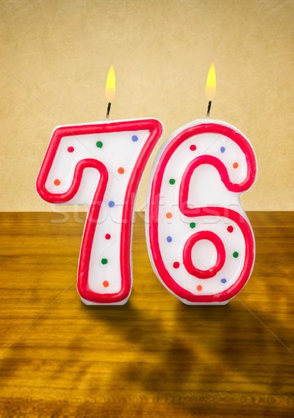 Burning birthday candles number 76 Stock photo © Zerbor