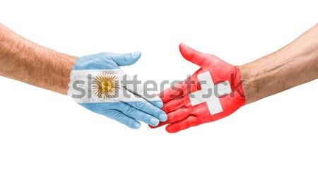 ハンドシェーク アルゼンチン スイス 手 会議 スポーツ ストックフォト © Zerbor