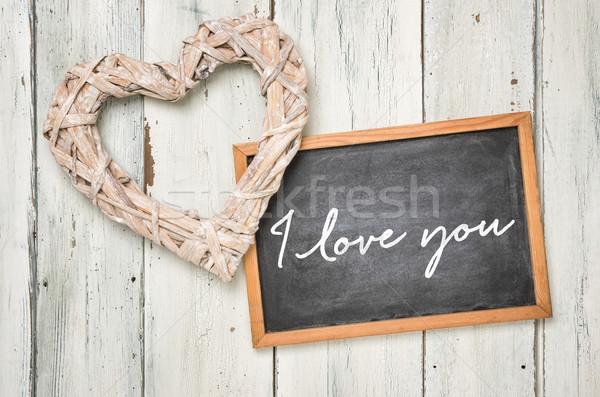 Blackboard with a braided heart - I love you Stock photo © Zerbor