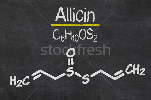 Blackboard with the chemical formula of Allicin Stock photo © Zerbor