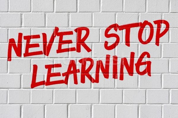 Graffiti on a brick wall - Never stop learning Stock photo © Zerbor