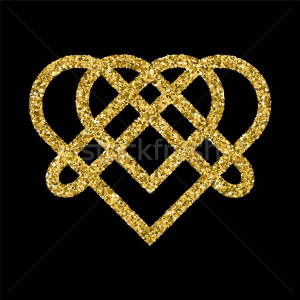 Golden glittering logo template  Stock photo © Zhukow