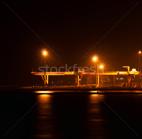 the industrial port at night Stock photo © Zhukow