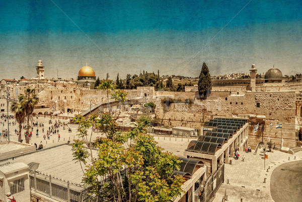 Western Wall,Temple Mount, Jerusalem. Photo in old color image style. Stock photo © Zhukow