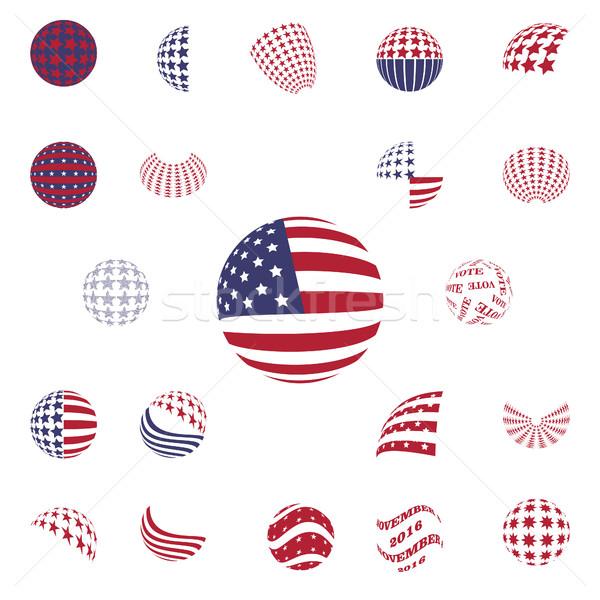 Gömb alakú szürke szín szimbólumok USA zászló Stock fotó © Zhukow