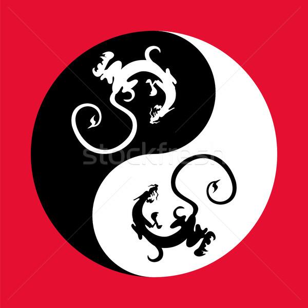 Sárkány yin yang sárkányok forma szimbólum harmónia Stock fotó © Zhukow