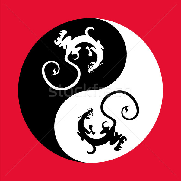 Dragon the yin yang. Stock photo © Zhukow