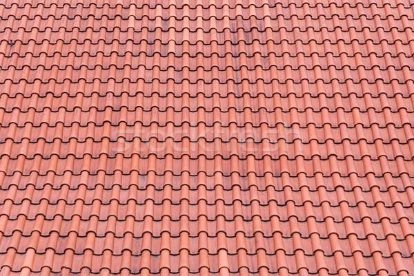 Czerwony płytek dachu starych tekstury budynków Zdjęcia stock © Zhukow