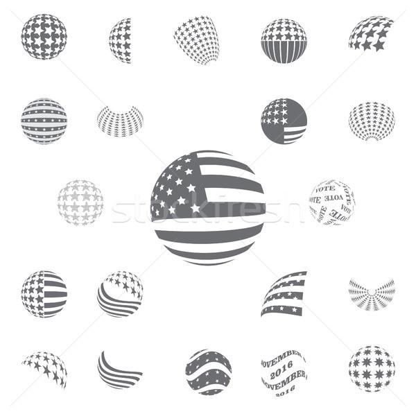 Sferico grigio colore simboli USA bandiera Foto d'archivio © Zhukow