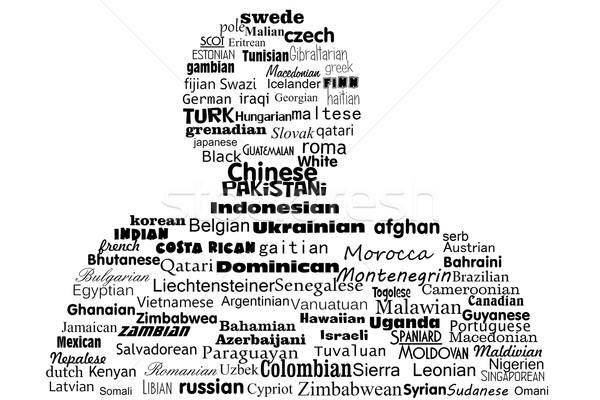 Nube de palabras nacionalidad pueblos mundo fondo blanco Foto stock © Zhukow