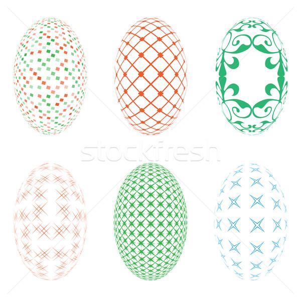 Ovos de páscoa branco ilustração seis feliz ovo Foto stock © Zhukow