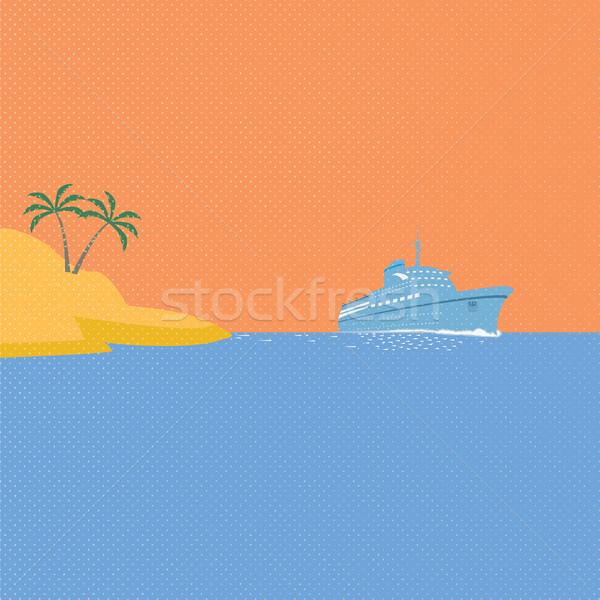 Cruise ship, tropical island and blue ocean Stock photo © Zhukow