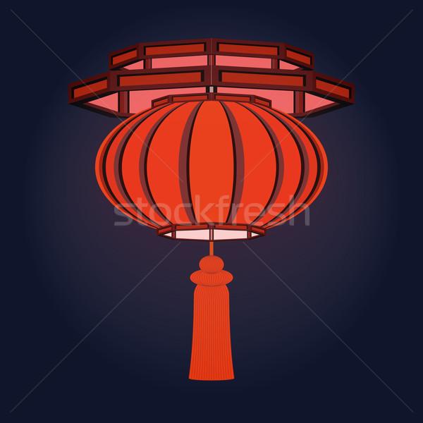 красный китайский фонарь традиционный бумаги Сток-фото © Zhukow
