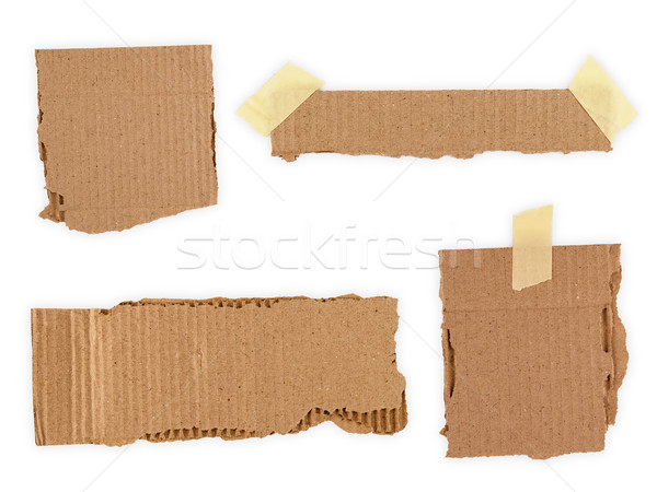Collection of a cardboard pieces isolated on white background Stock photo © Zhukow