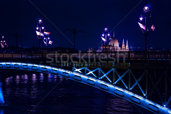 Margaret Bridge over Danube river by night, Budapest, Hungary Stock photo © Zhukow