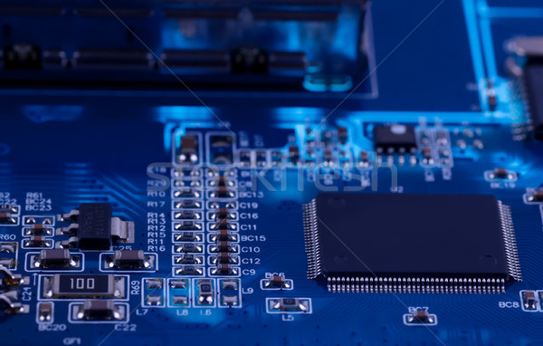 macro photo of electronic circuit. PCB on the lighting. Stock photo © Zhukow
