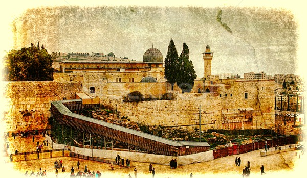 Western Wall,Temple Mount, Jerusalem.Photo in old color image style. Stock photo © Zhukow