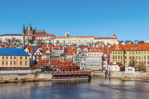 Old town and Prague castle with river Vltava, Czech Republic Stock photo © Zhukow