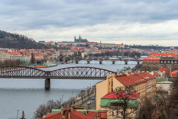 Prague panorama view from Vysehrad Stock photo © Zhukow