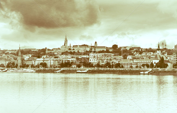 View  Buda side of Budapest. Vintage style Stock photo © Zhukow