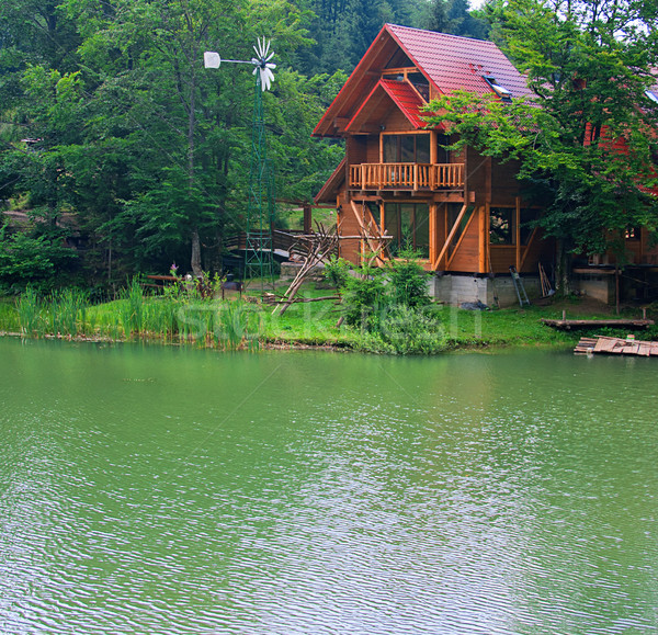 Lake with the wooden house ashore in the summer Stock photo © Zhukow