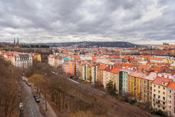 Prague panorama view from Vysehrad, Shallow depth of field Stock photo © Zhukow