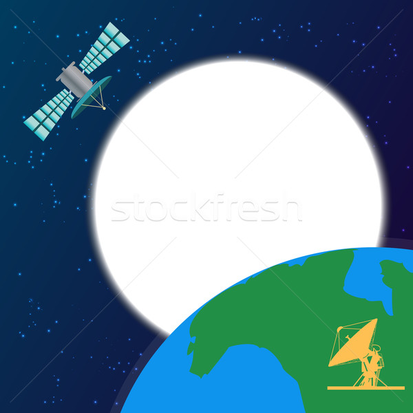 Space satellite orbiting above the earth Stock photo © Zhukow