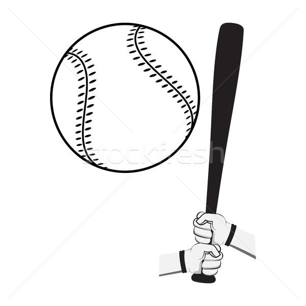 Mains batte de baseball grand balle isolé Photo stock © Zhukow