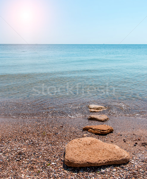 Quiet time. Sandy beach seashore in the morning Stock photo © Zhukow