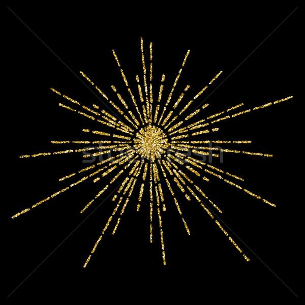 Golden glittering beams template  Stock photo © Zhukow