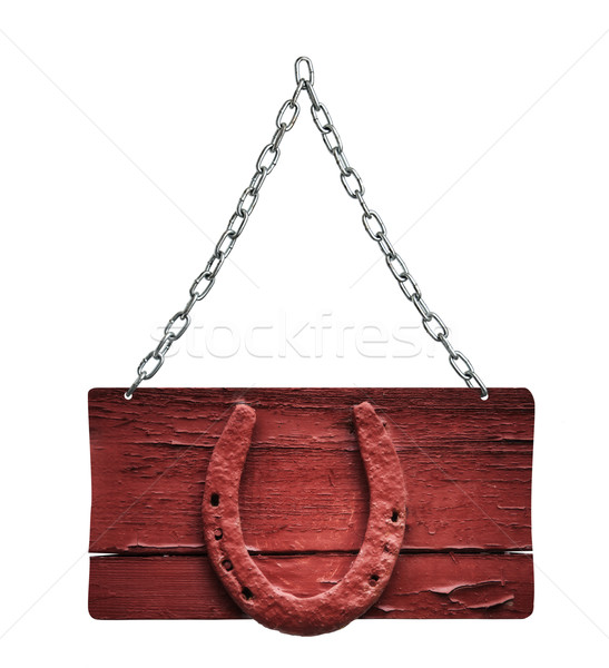wooden sign and chain on white background Stock photo © Zhukow