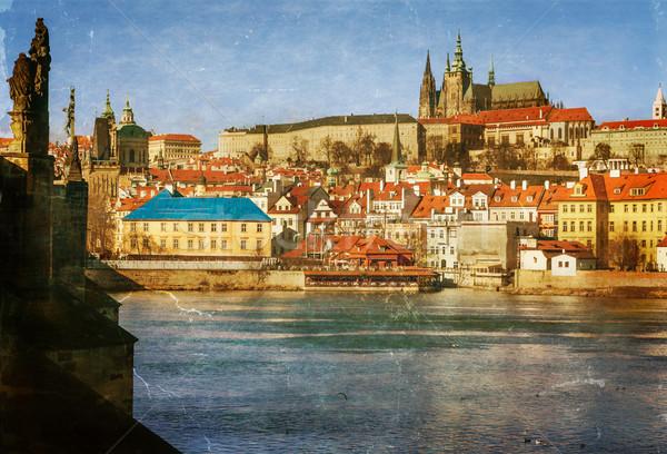 Prague, Charles Bridge, Czech Republic, textured old paper Stock photo © Zhukow
