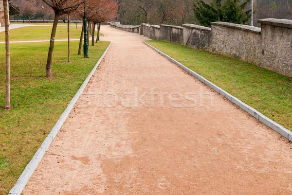 Rojo grava camino parque jardín verano Foto stock © Zhukow
