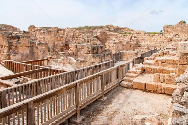 Középkori erőd park kilátás romok Izrael Stock fotó © Zhukow