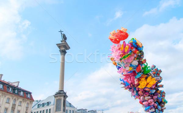 Kolom en veel kleurrijk ballonnen Warschau Stockfoto © Zhukow