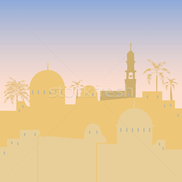 Jérusalem Skyline silhouette design Israël illustration Photo stock © Zhukow
