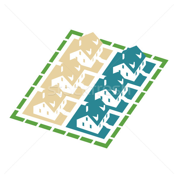 Isometric cluster house icon Stock photo © Zhukow
