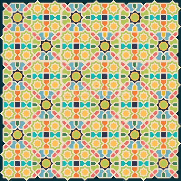 Iszlám absztrakt mértani végtelen minta textúra zöld Stock fotó © Zhukow