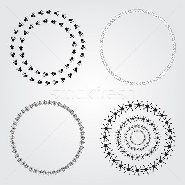 Colección decorativo marcos simétrico geométrico Foto stock © Zhukow