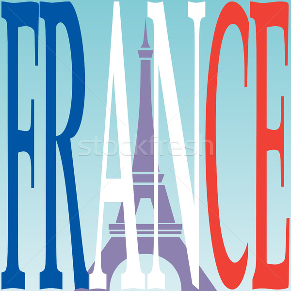 Eiffel tower and French flag. Stock photo © Zhukow