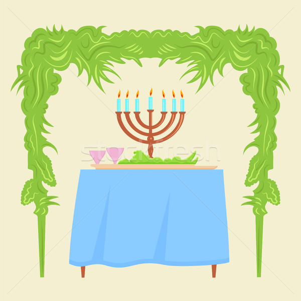Sukkot Festival greeting card design vector template. Stock photo © Zhukow