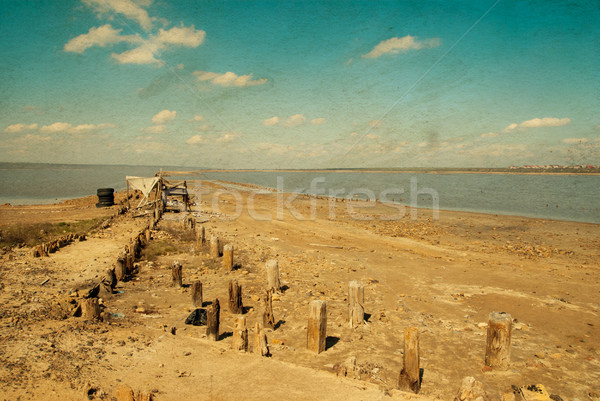 littered the drying lake shore, old color style Stock photo © Zhukow