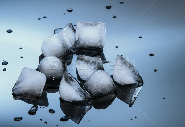 wet ice cubes on black glossy  background Stock photo © Zhukow