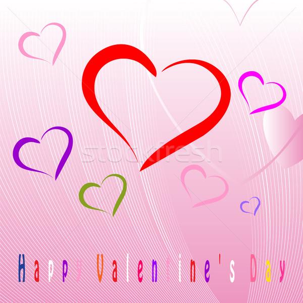 Feliz dia dos namorados celebração cartão decorado forma de coração Foto stock © Zhukow